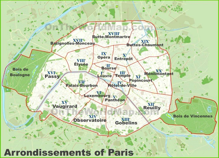 Paris arrondissements map