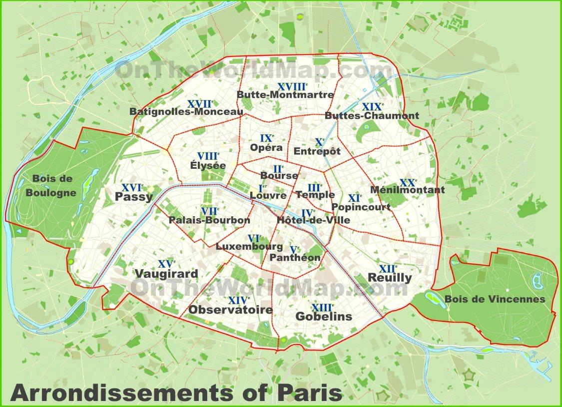 Paris Arrondissements Map - Show map of paris arrondissements