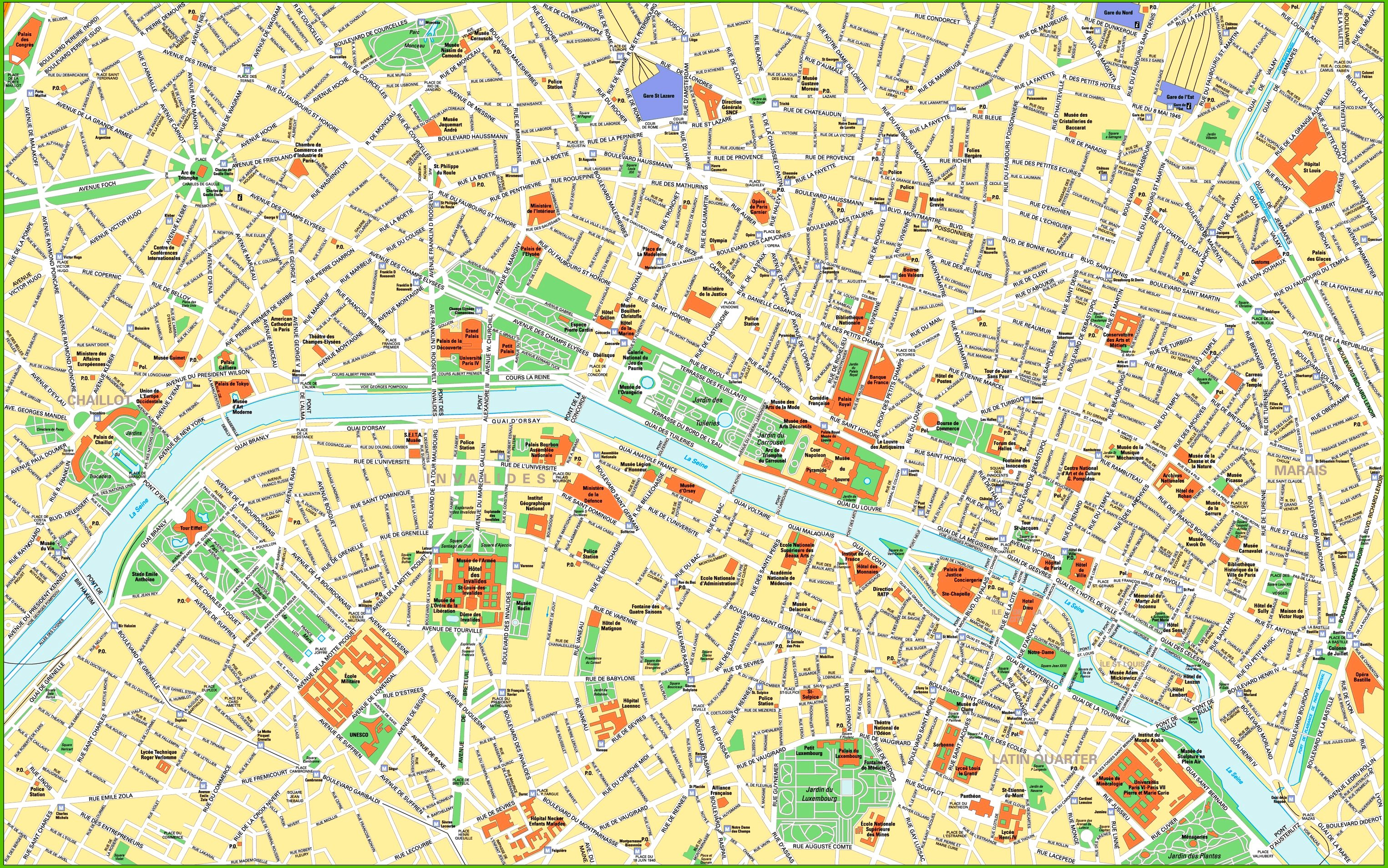 Paris city centre map with tourist attractions and sightseeings