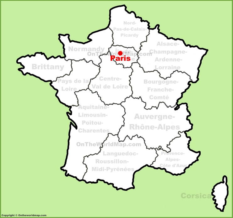 Paris location on the France map