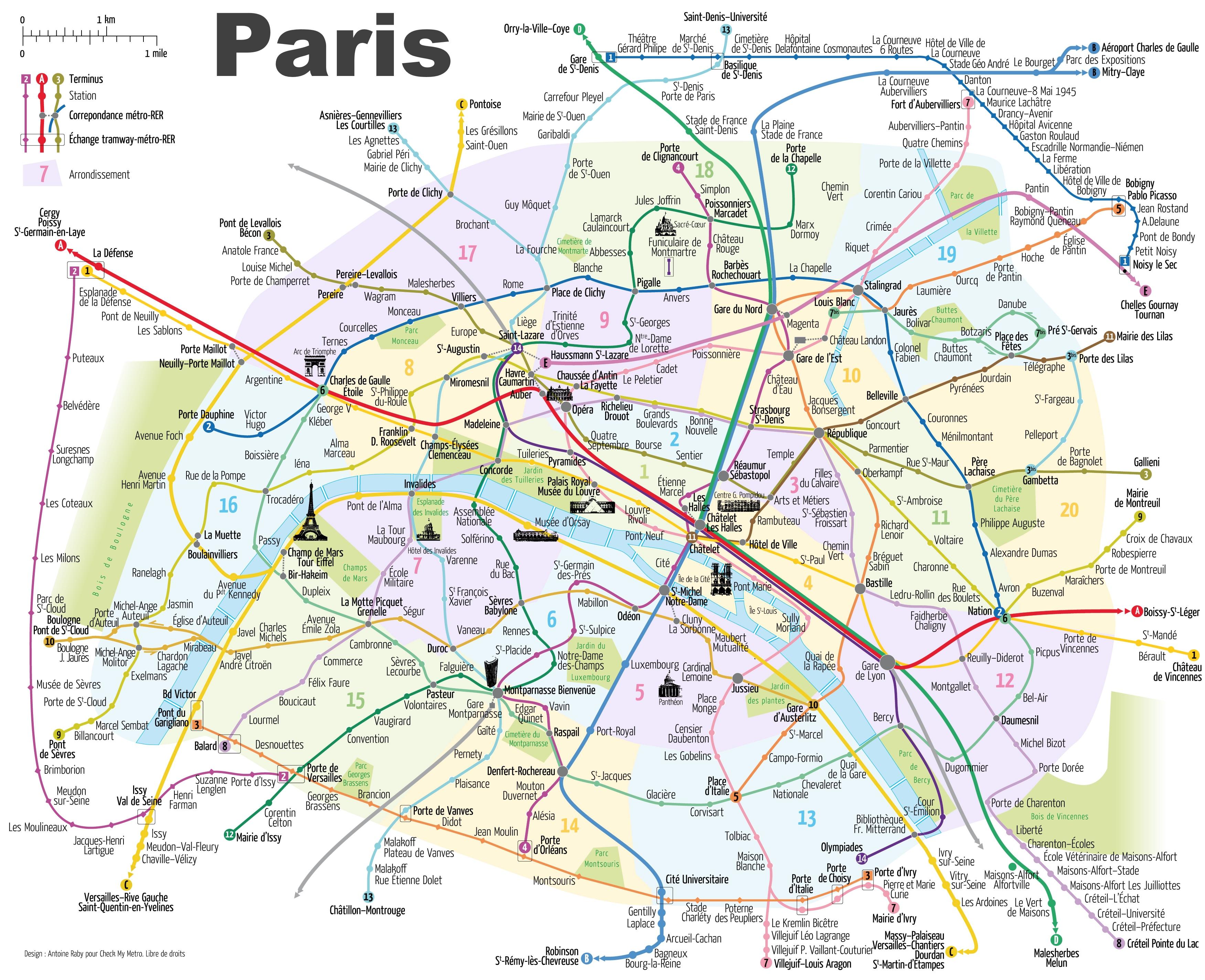 Map Of Paris France Paris metro map with main tourist attractions Map Of Paris France