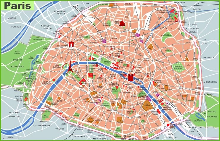 Paris tourist map with sightseeings
