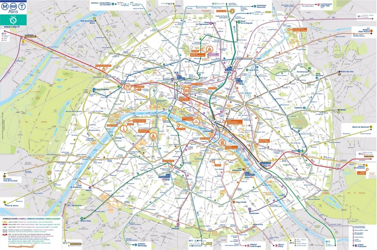 Paris transport map with main sightseeings