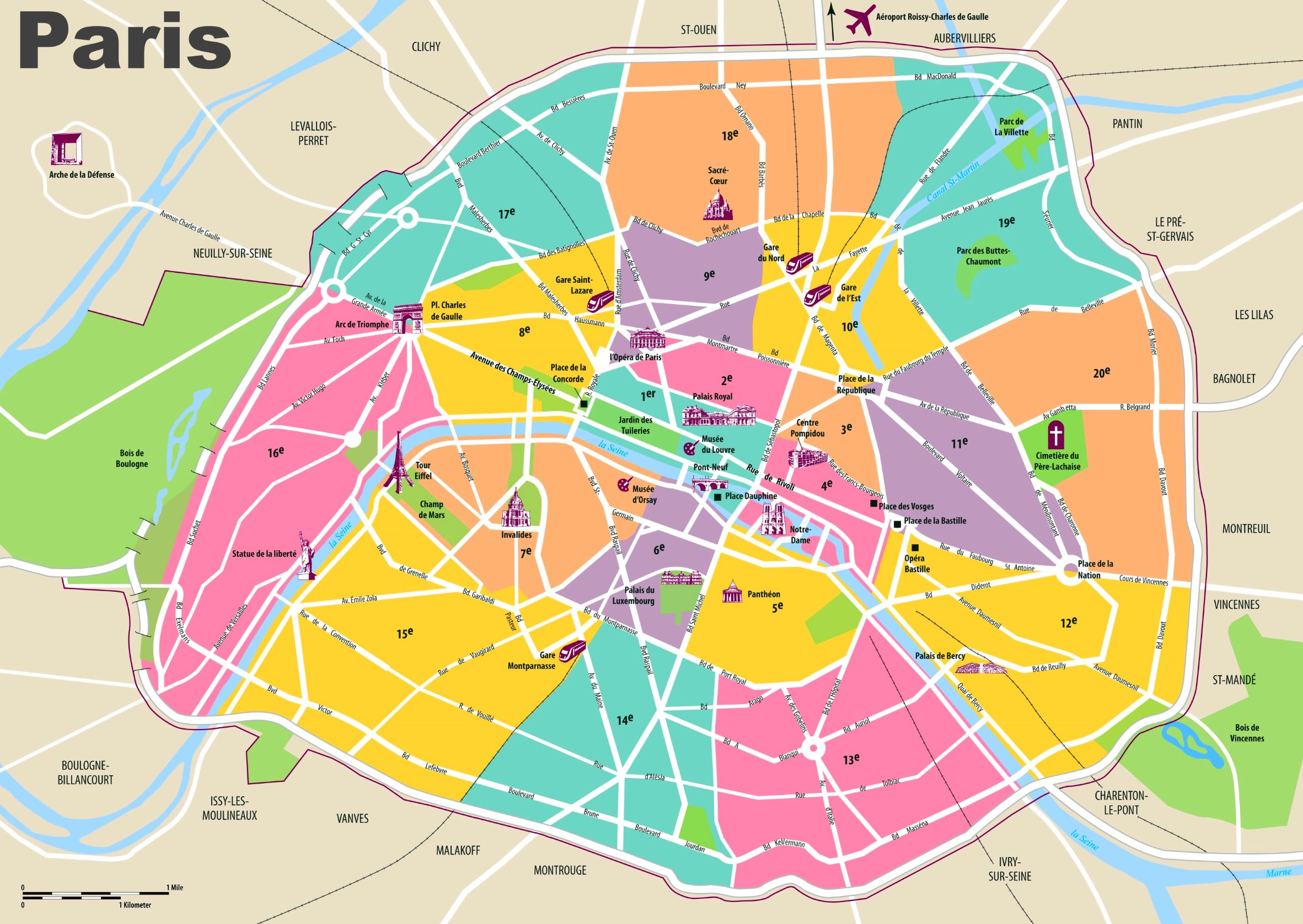 Favori Paris travel map with tourist attractions and arrondissements CF58