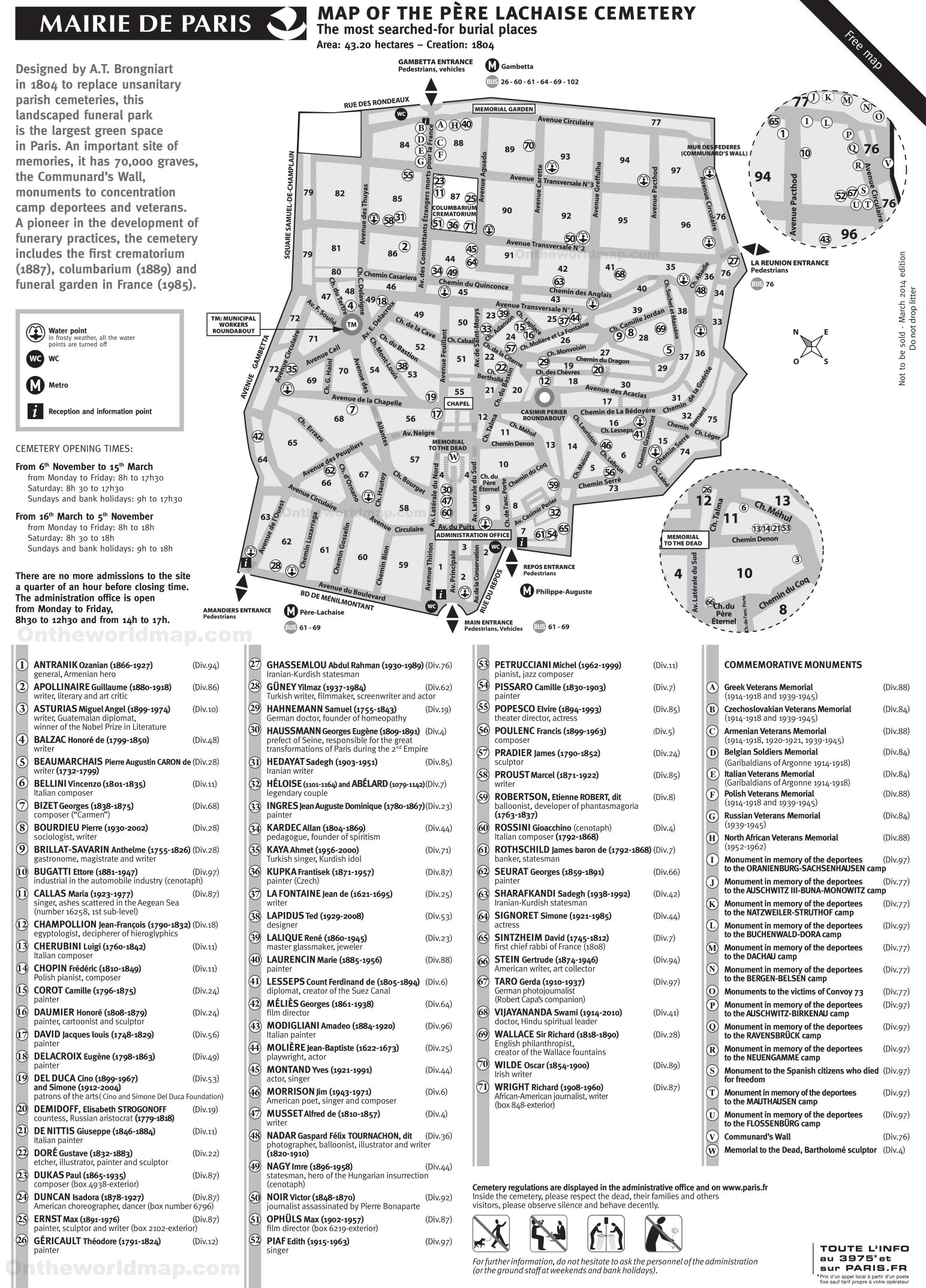 Pere Lachaise Cemetery Map