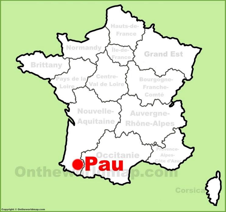 Pau location on the France map