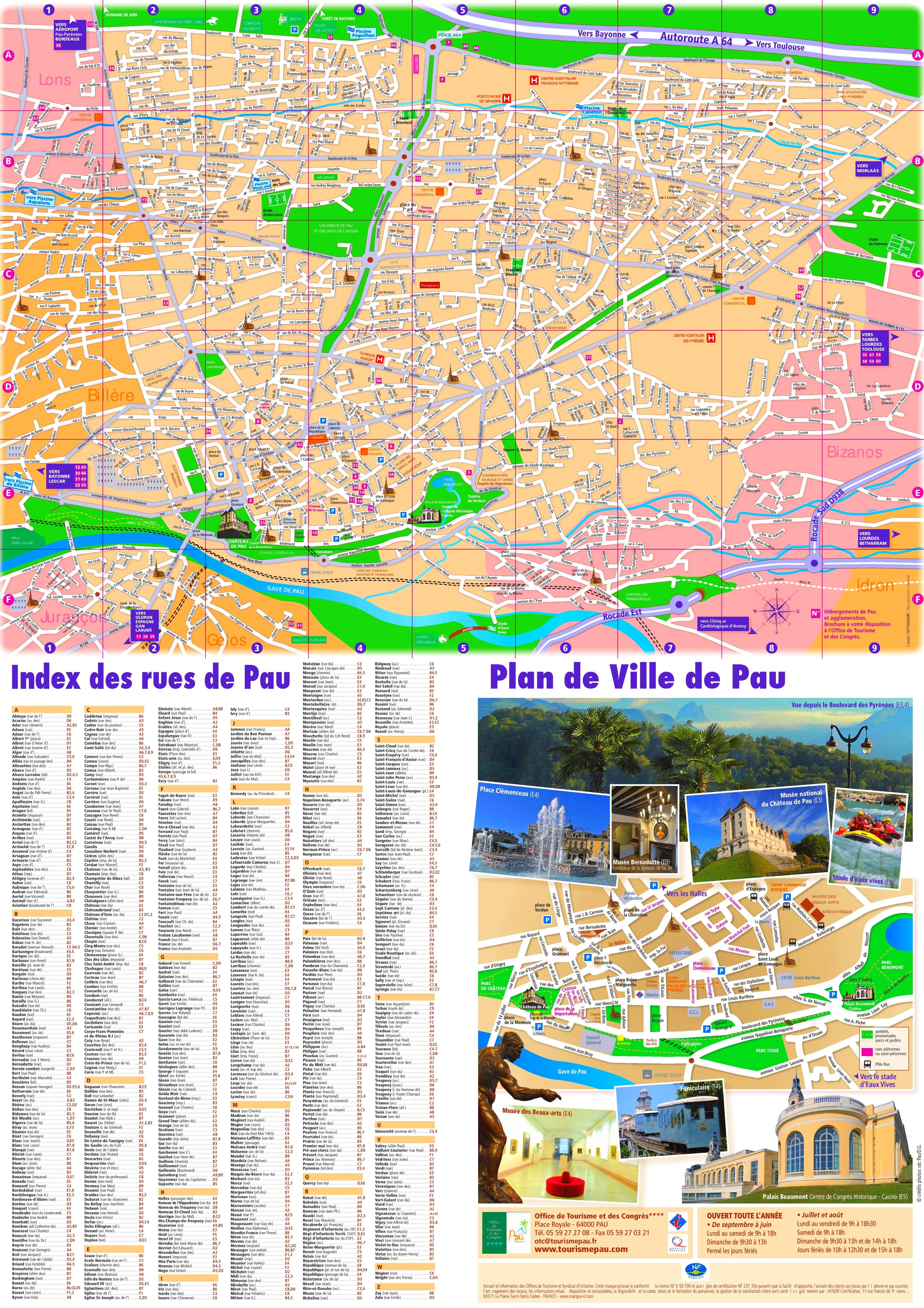 Pau tourist map