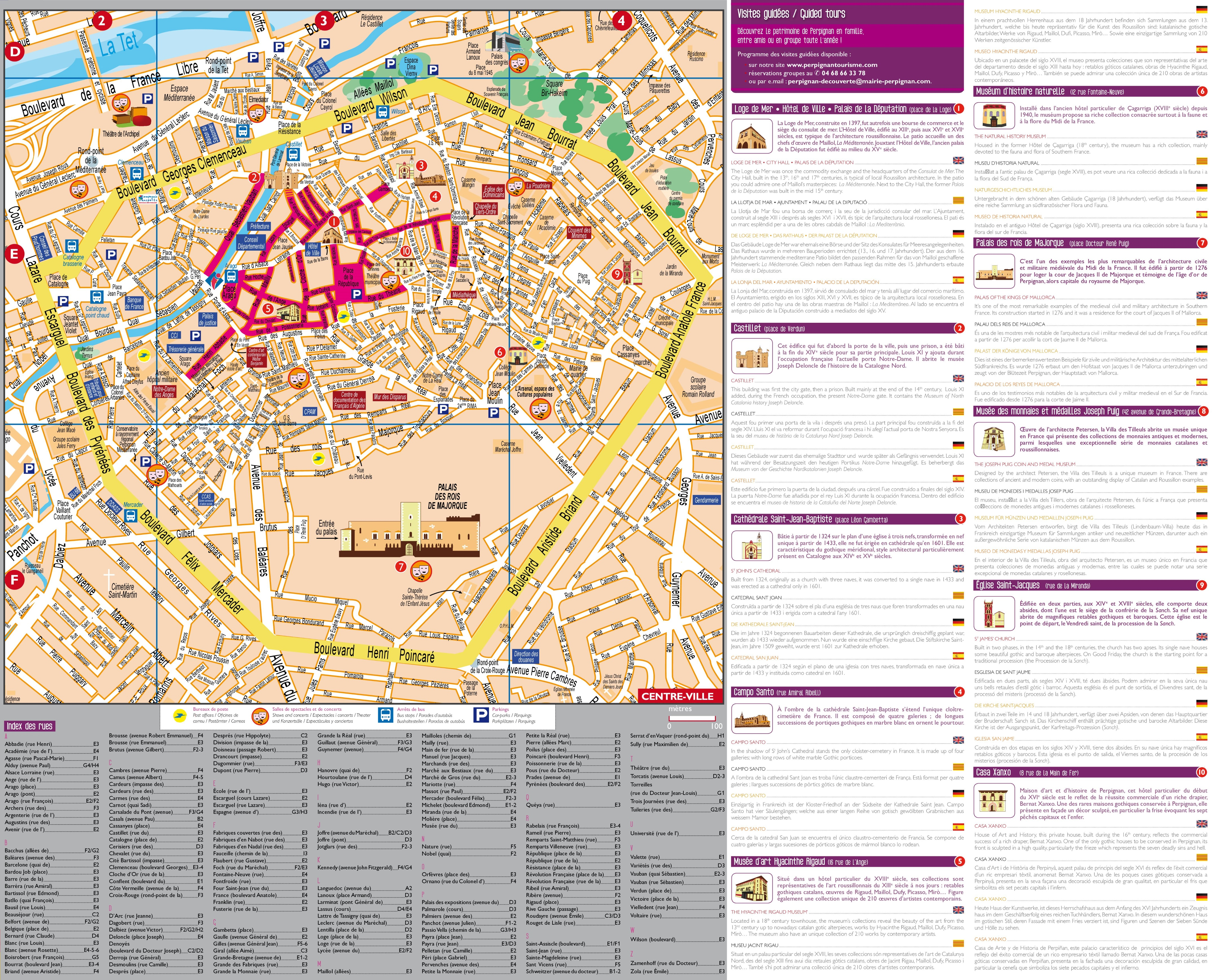 Perpignan city centre map with sightseeing