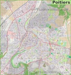Large detailed map of Poitiers