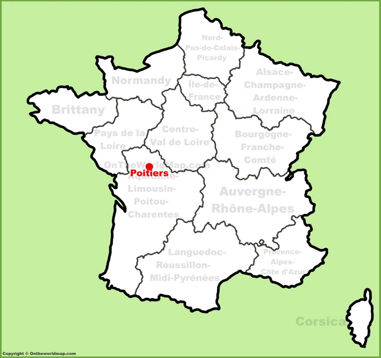 Poitiers location on the France map