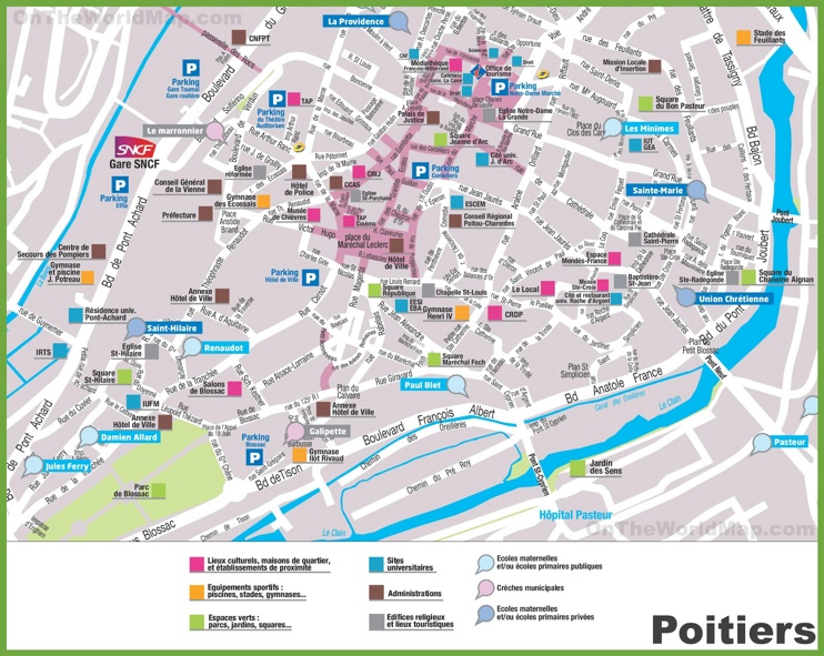 Poitiers sightseeing map