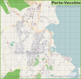 Detailed map of Porto-Vecchio