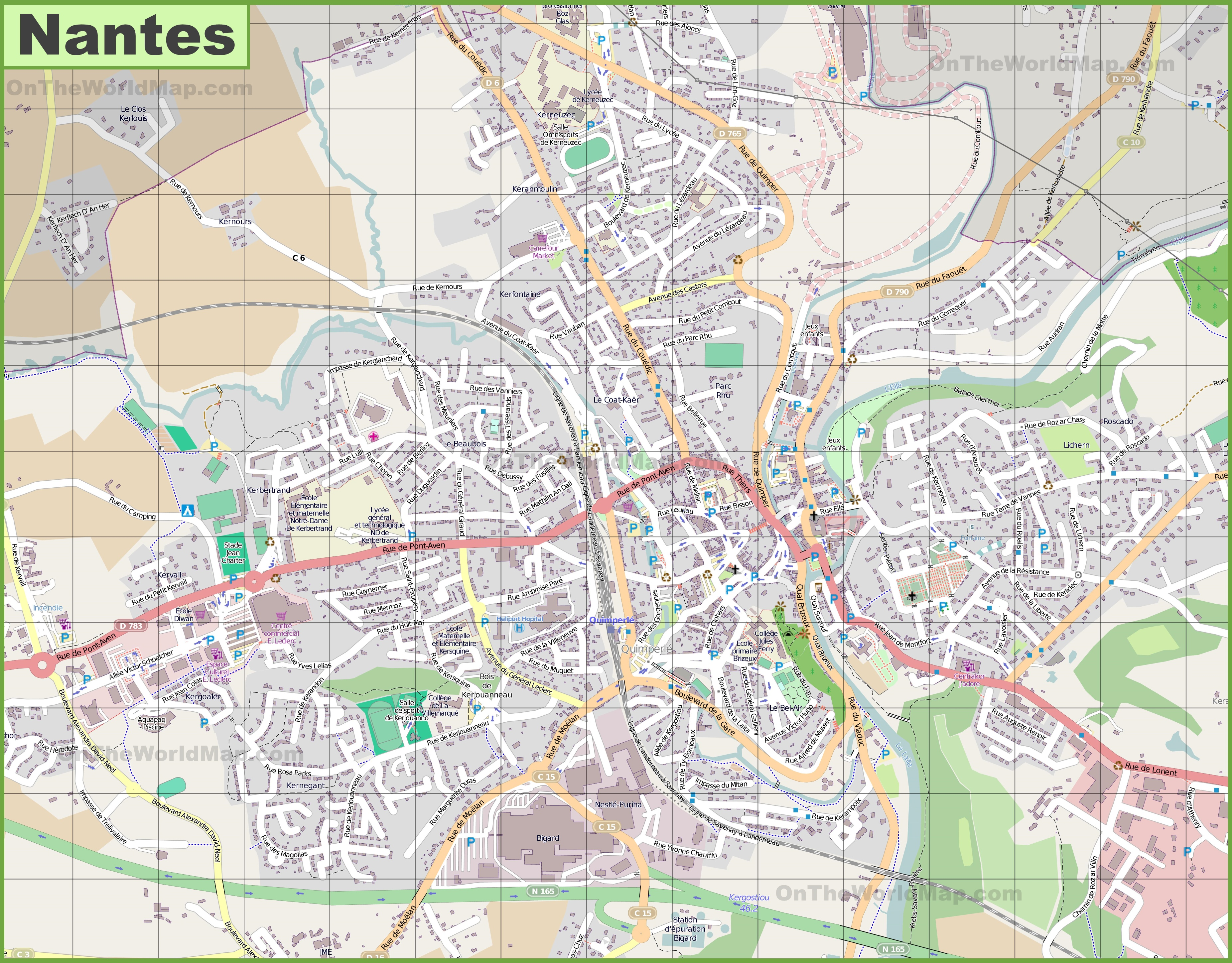 Large detailed map of Quimper