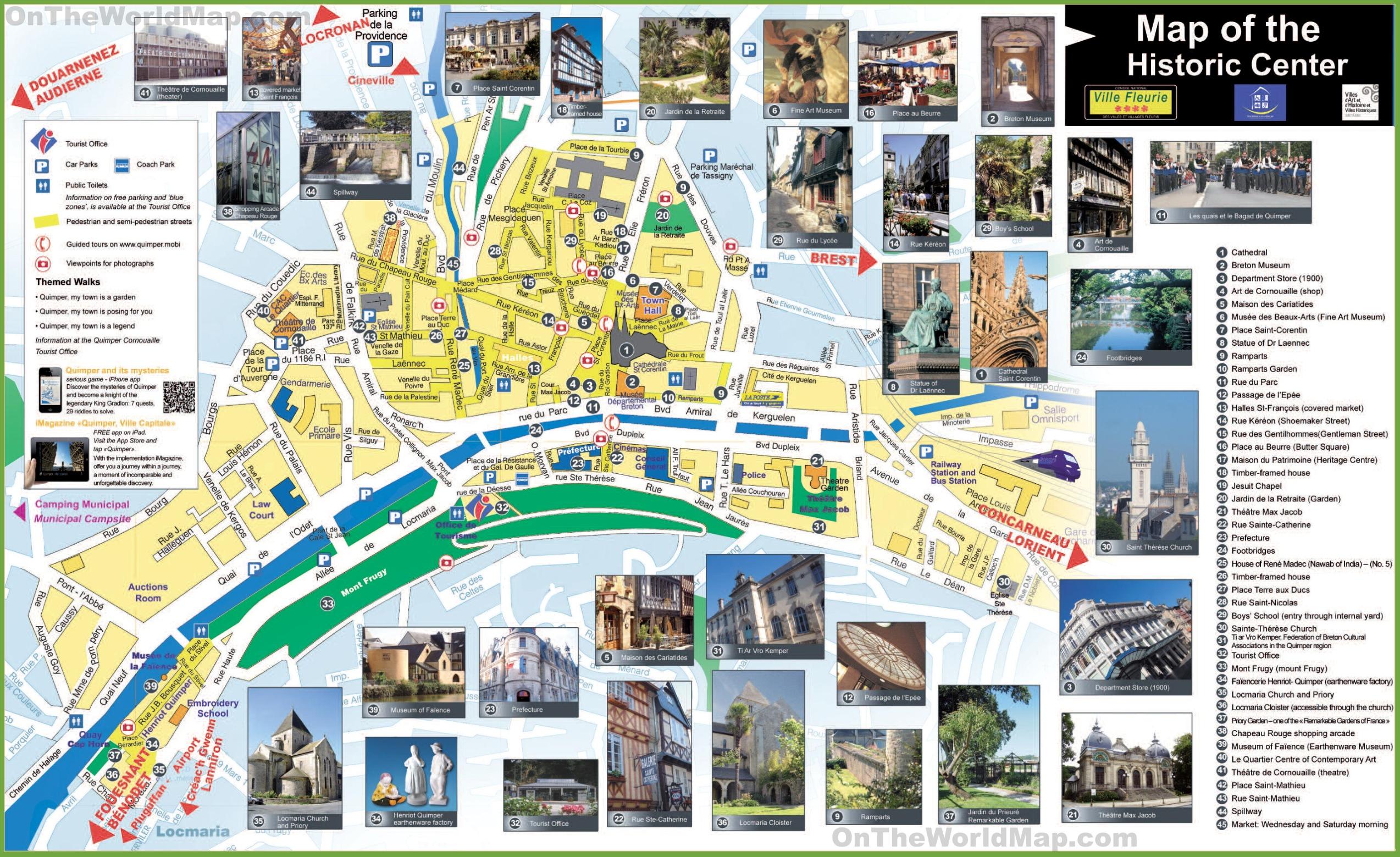 Quimper tourist map