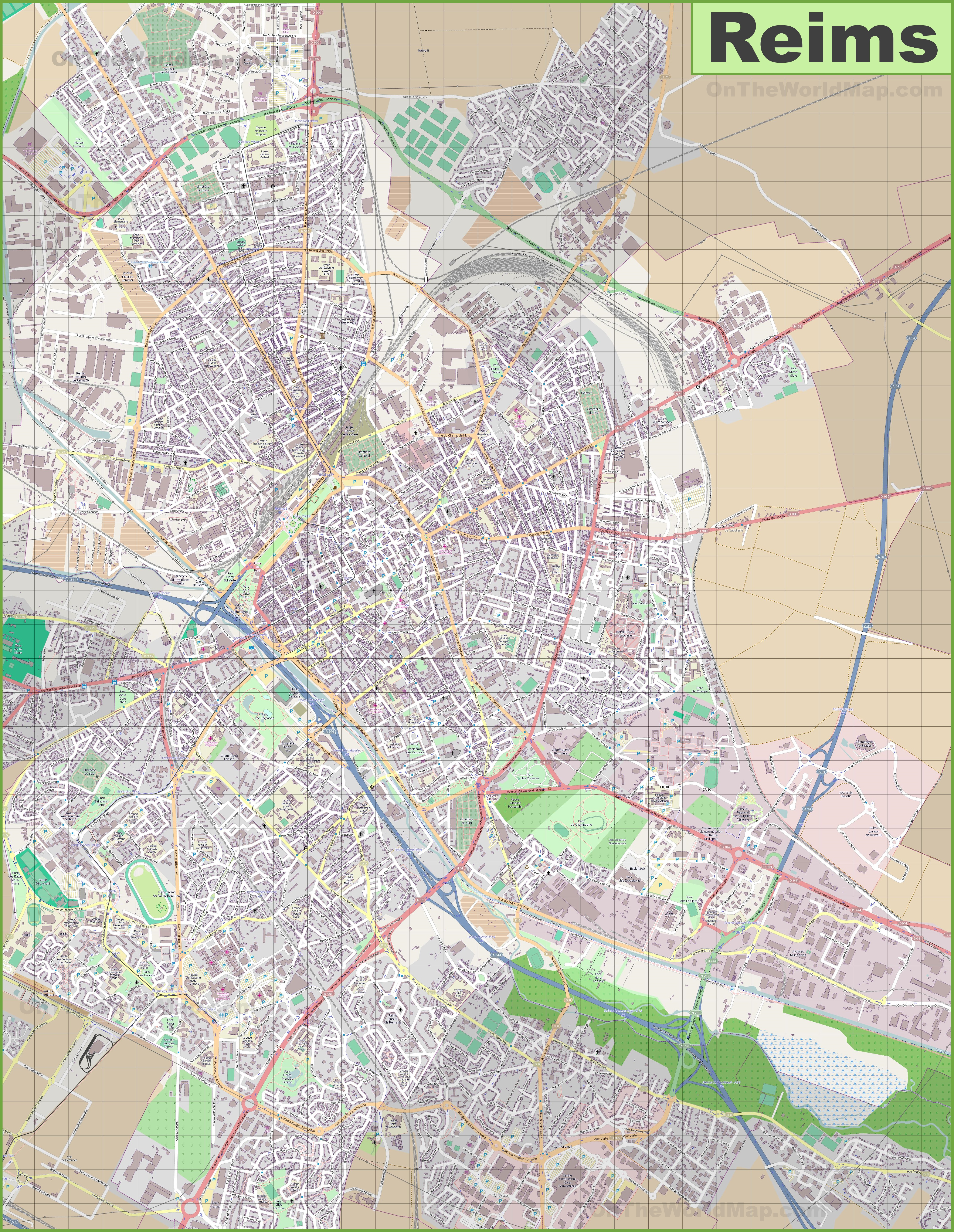 Large detailed map of Reims