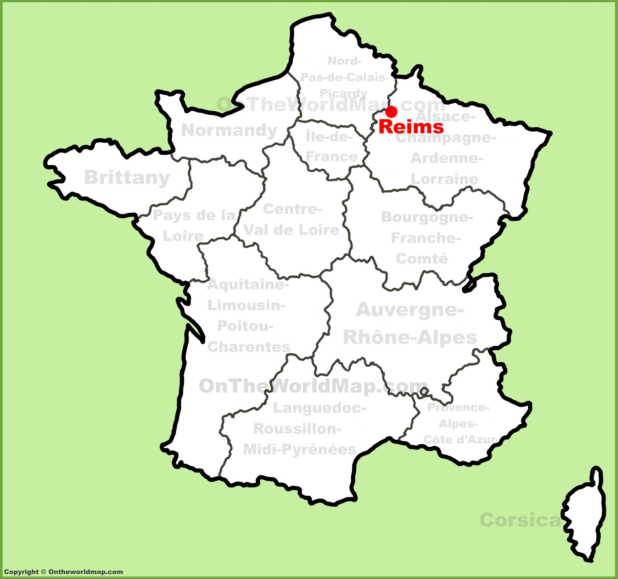Reims location on the France map