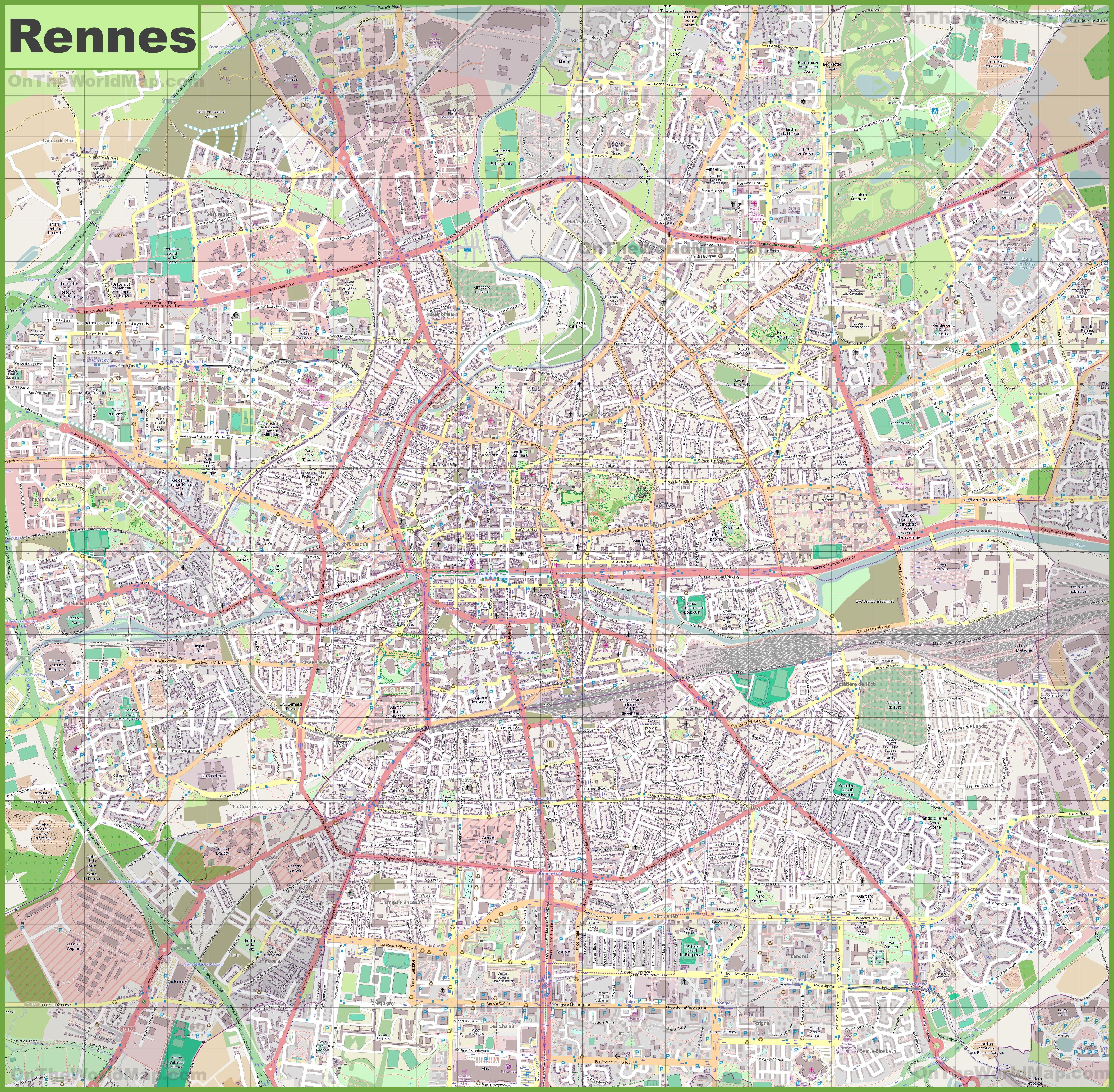 Large detailed map of Rennes