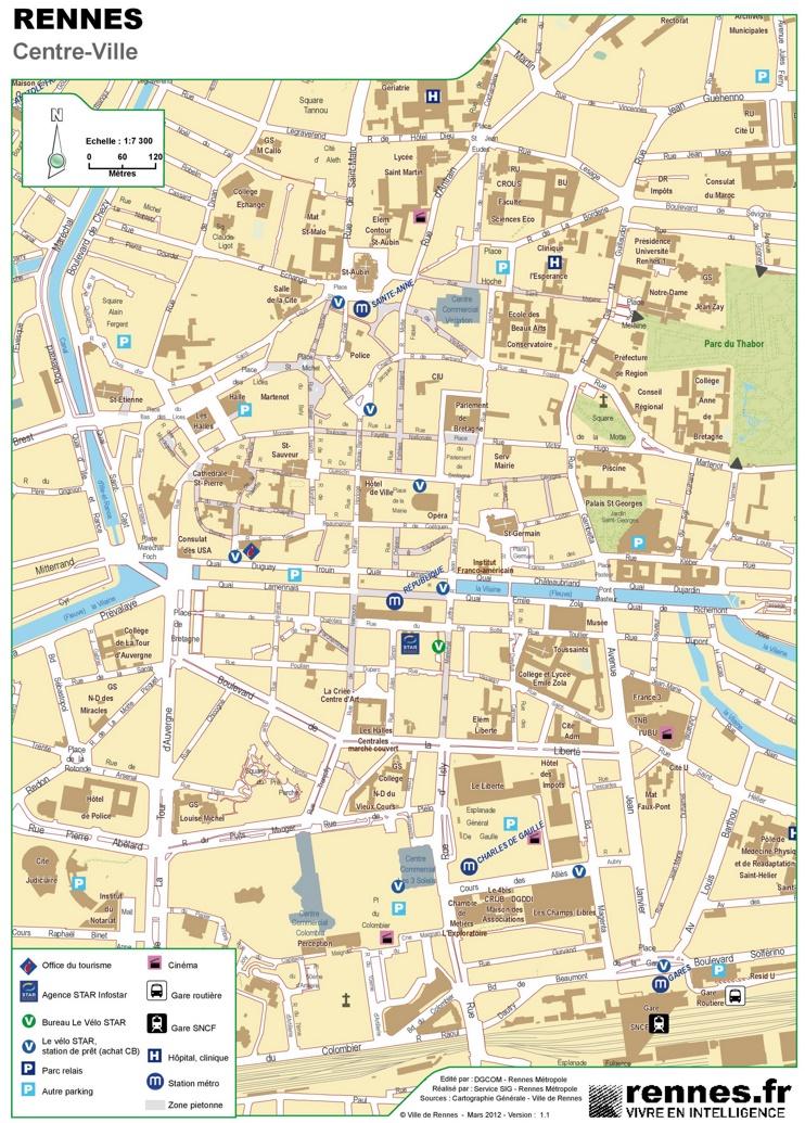 Rennes city center map