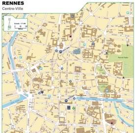 Rennes city center map