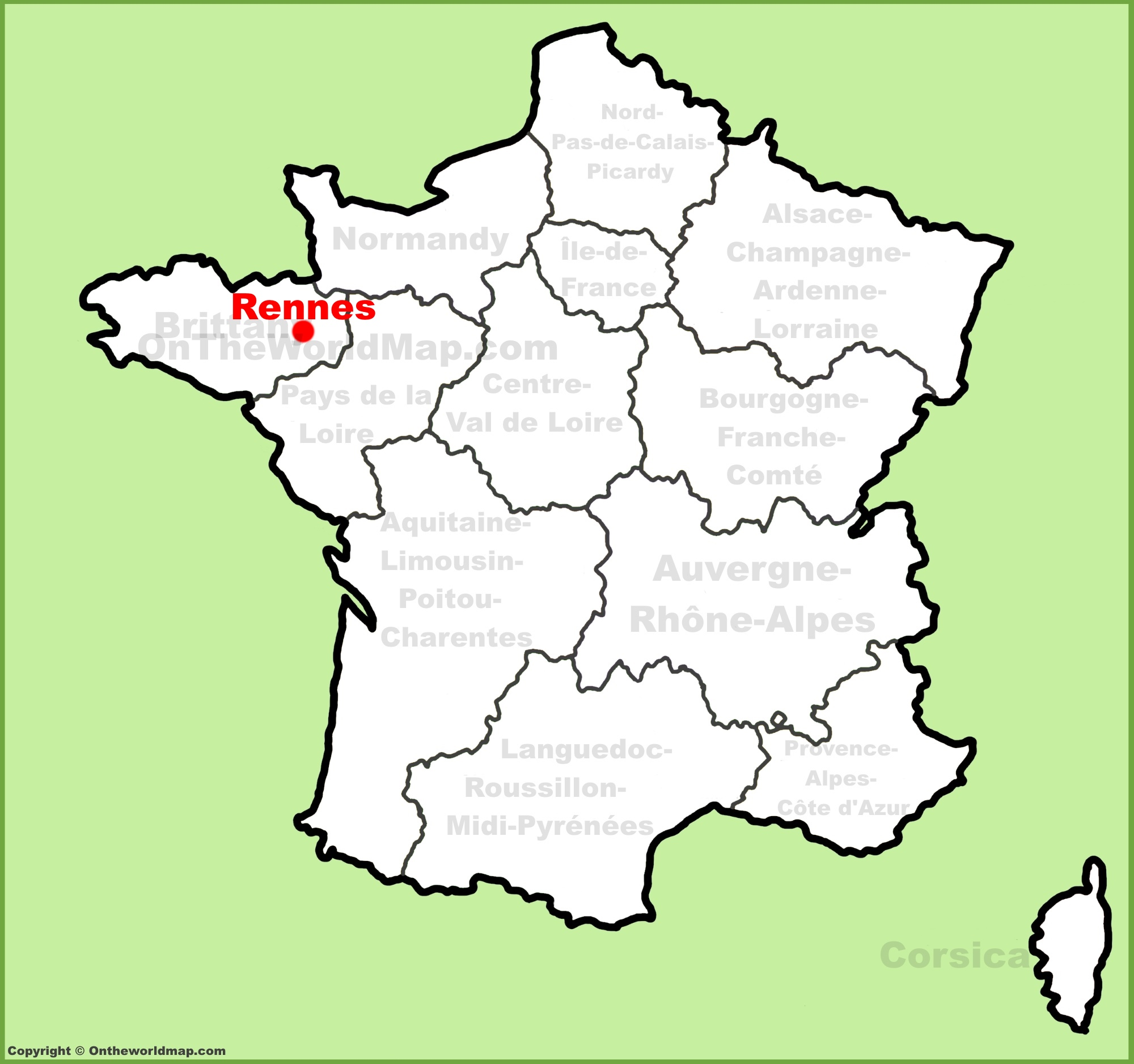 The Map Of France With The City.Rennes Location On The France Map