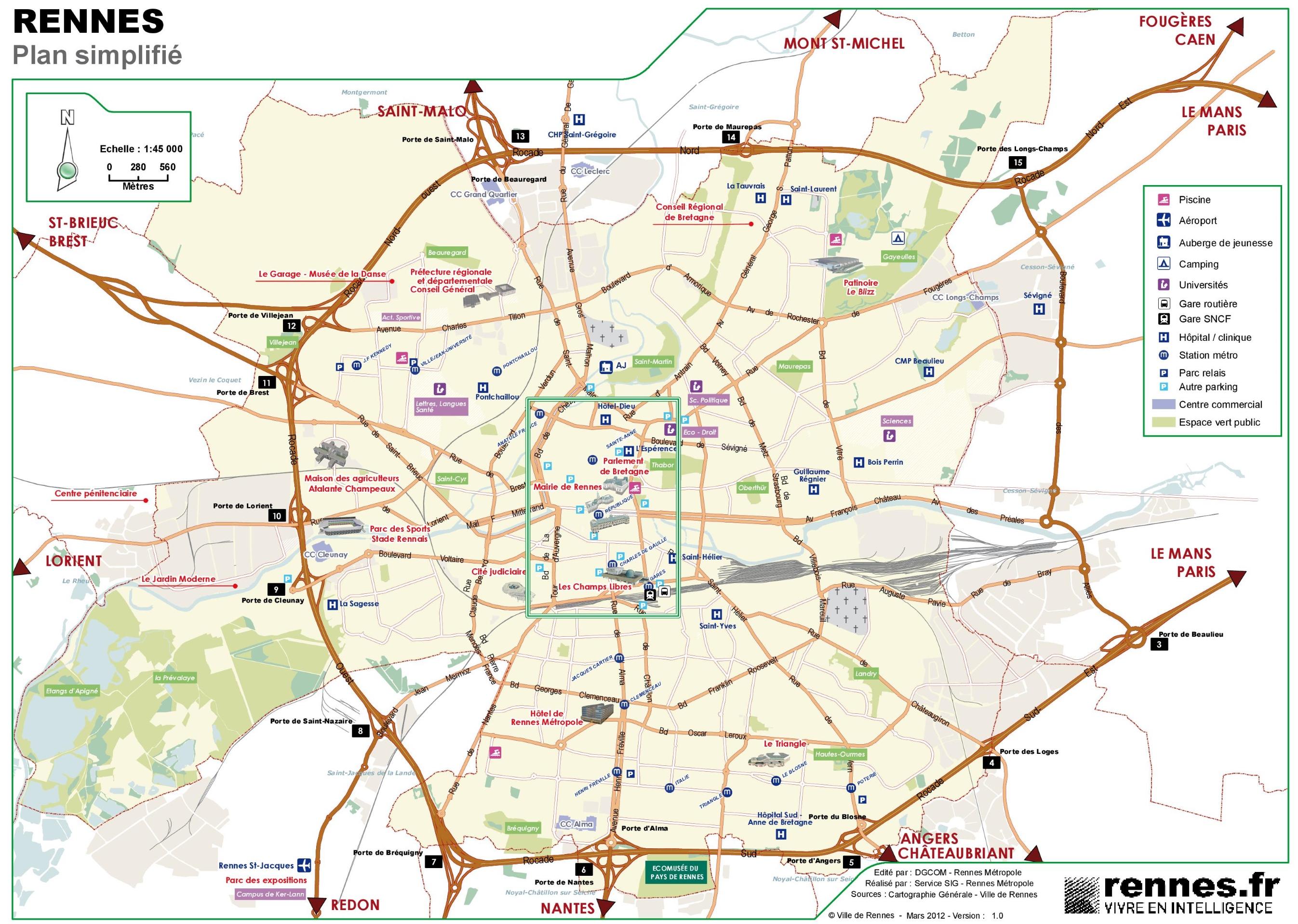 Rennes tourist map