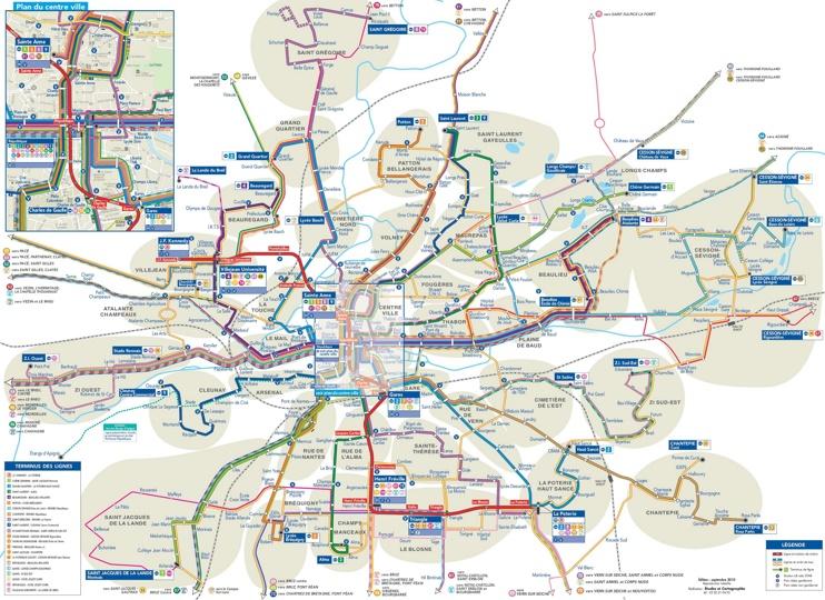 Rennes transport map