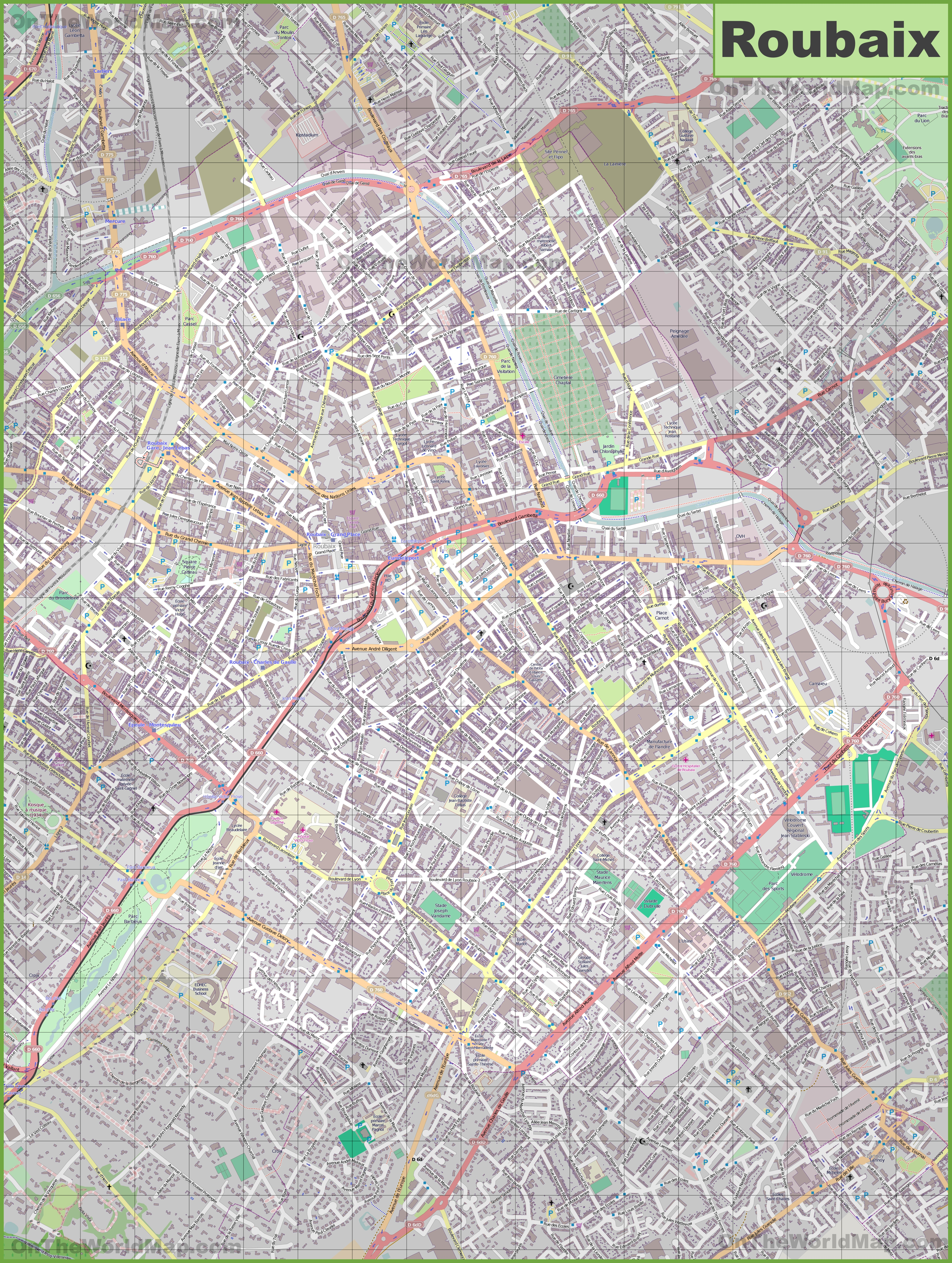 Large detailed map of Roubaix