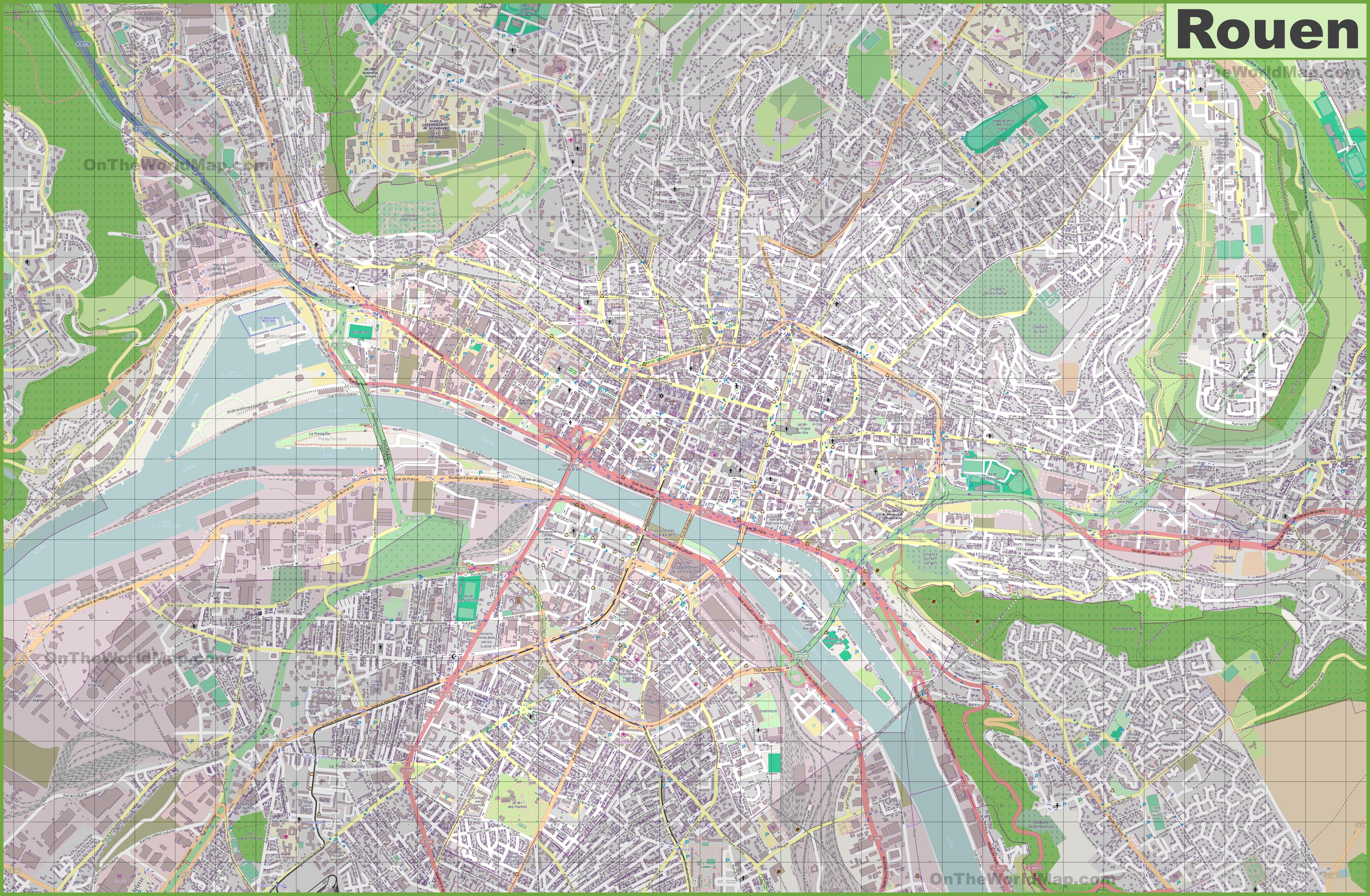 Large detailed map of Rouen