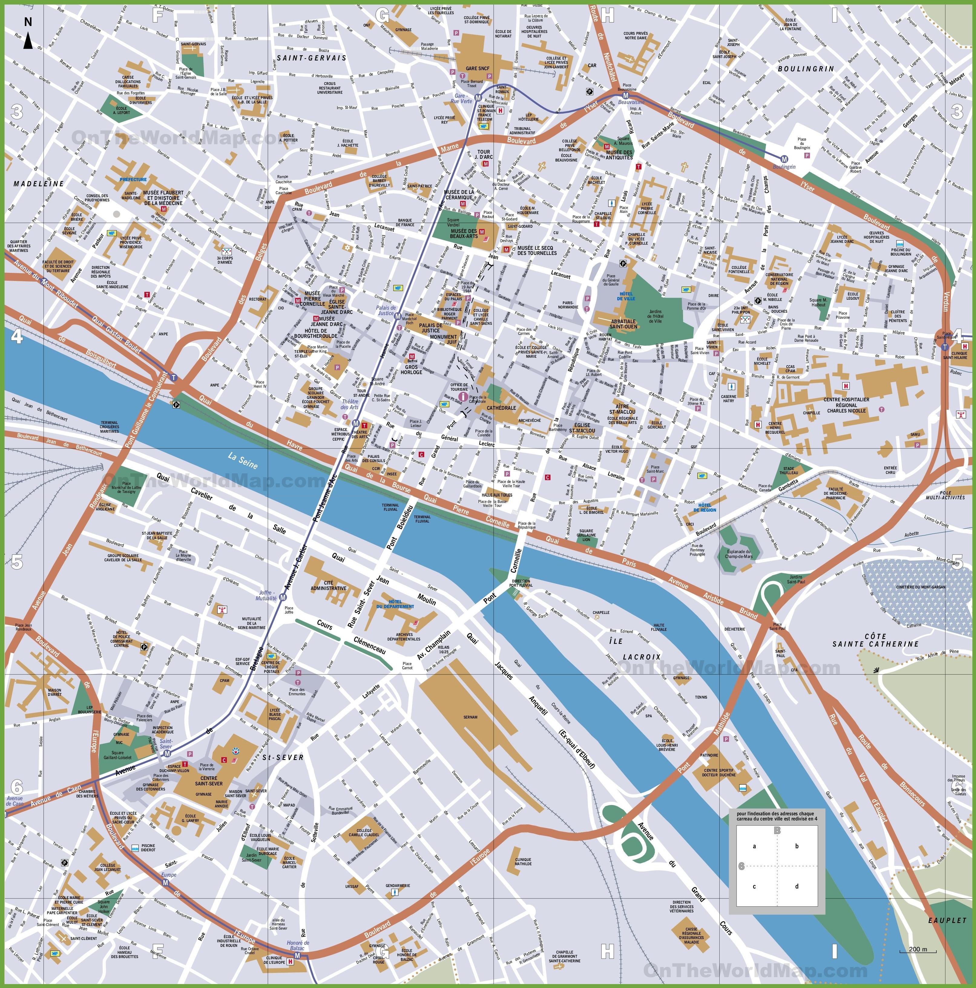 Rouen tourist map