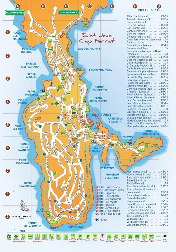 Saint-Jean-Cap-Ferrat hotels and sightseeings map
