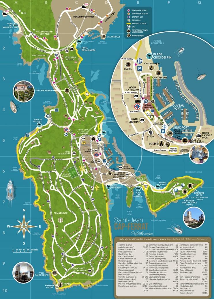 Saint-Jean-Cap-Ferrat tourist map