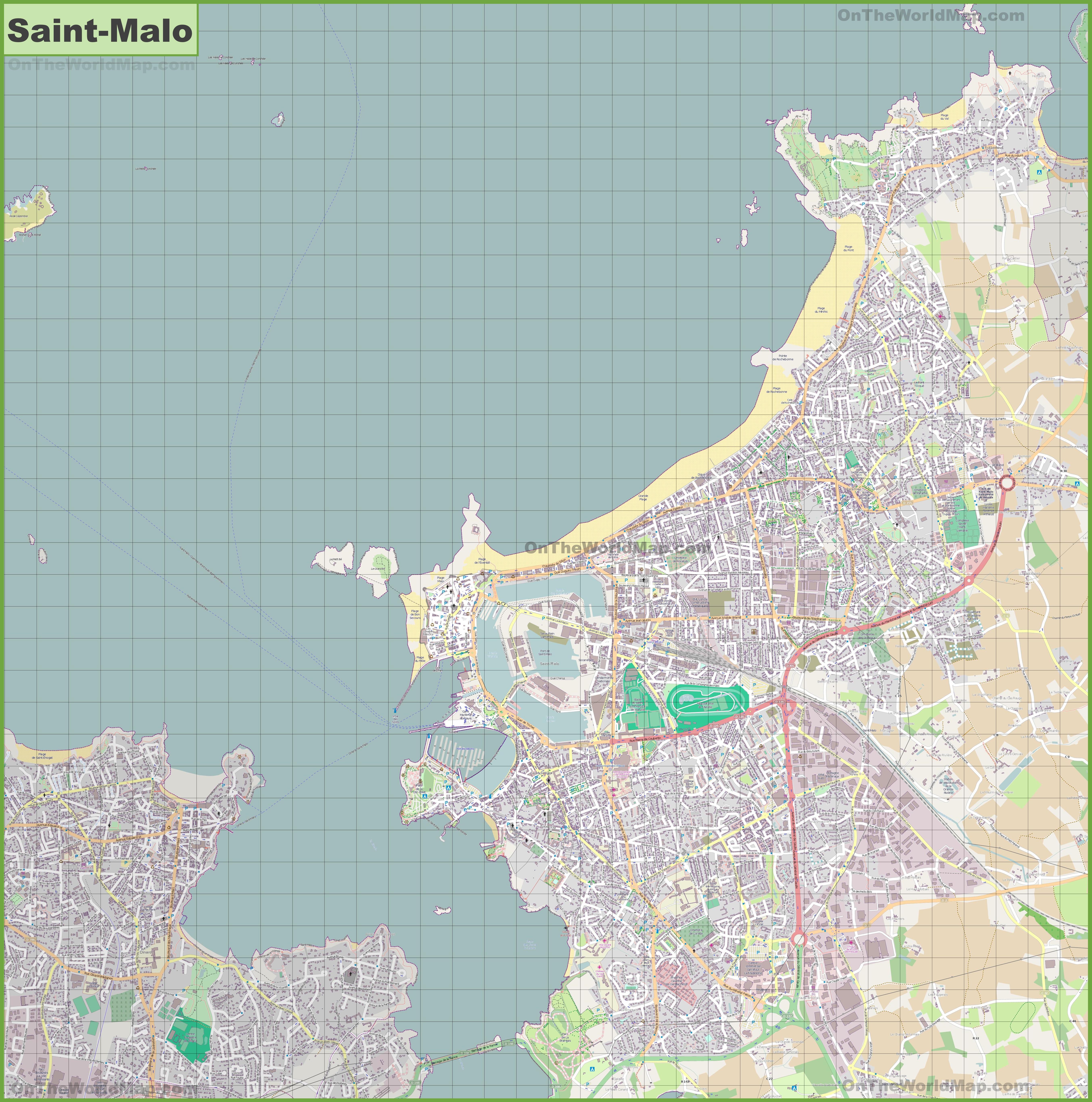 Large detailed map of Saint-Malo
