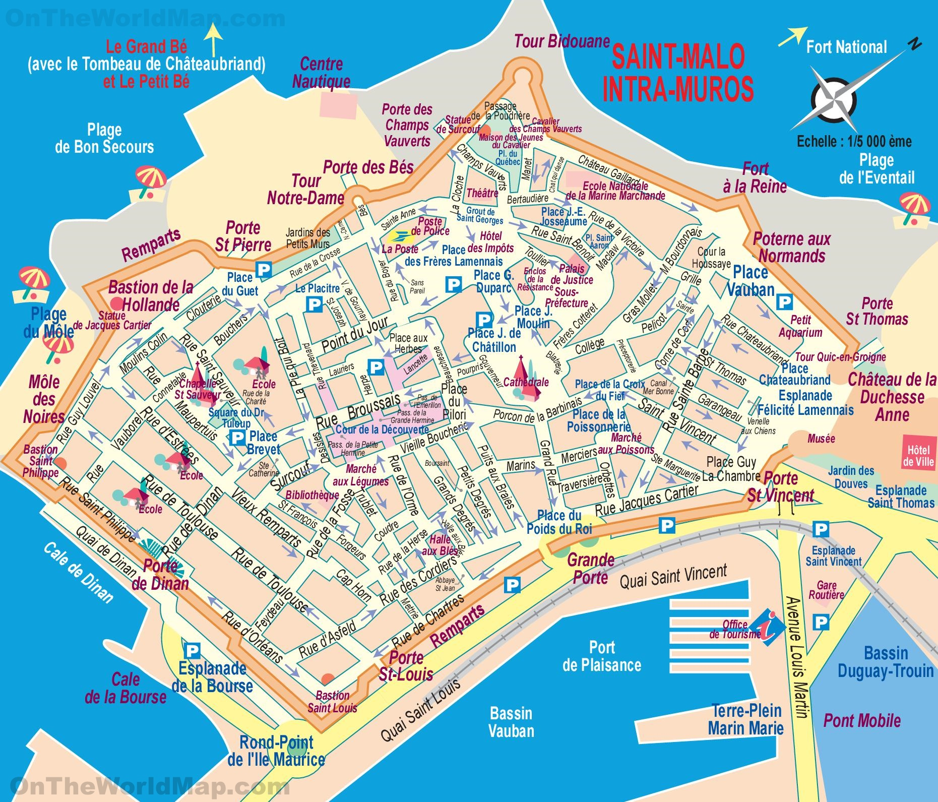 St Malo France Map Saint Malo tourist map