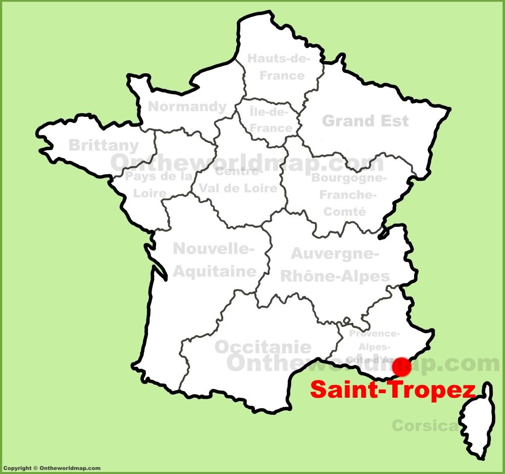 SaintTropez location on the France map