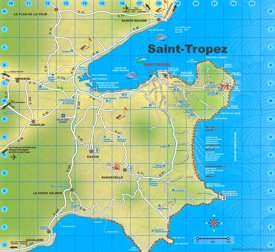 Tourist map of surroundings of Saint-Tropez