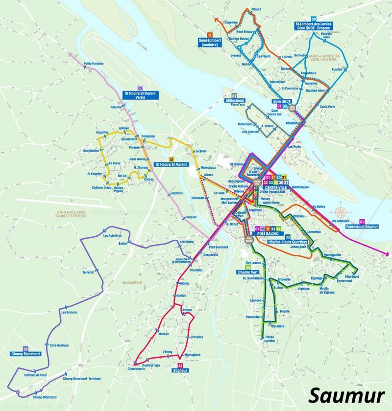 Saumur Transport Map