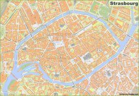 Detailed map of Strasbourg City Center