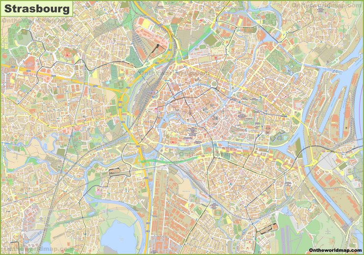 Large detailed map of Strasbourg