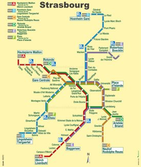 Strasbourg tram map