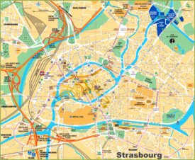 Tourist map Strasbourg with sightseeings