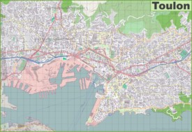Large detailed map of Toulon