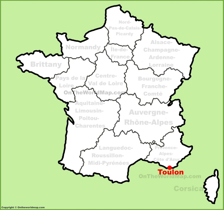 Toulon location on the France map