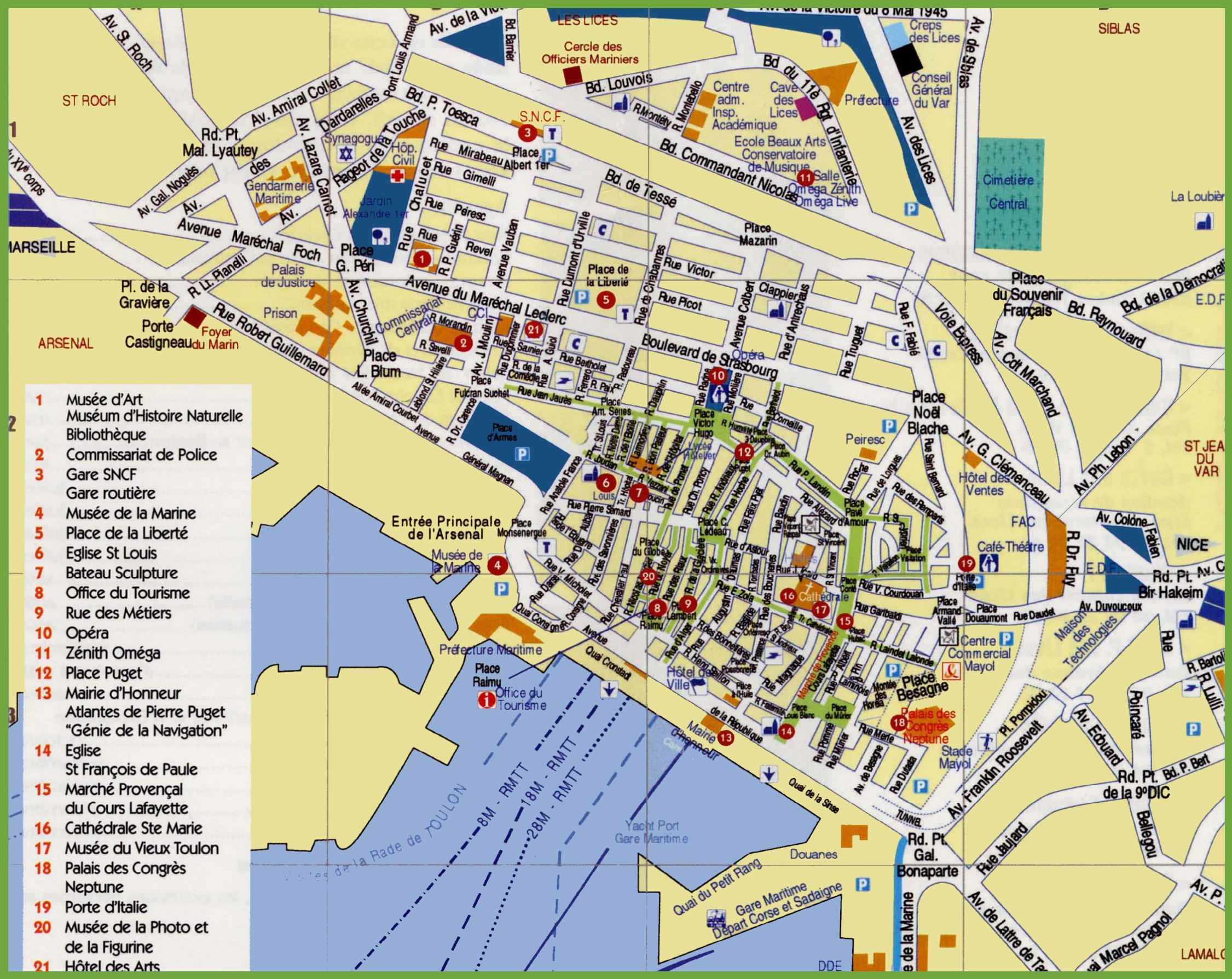 Toulon sightseeing map