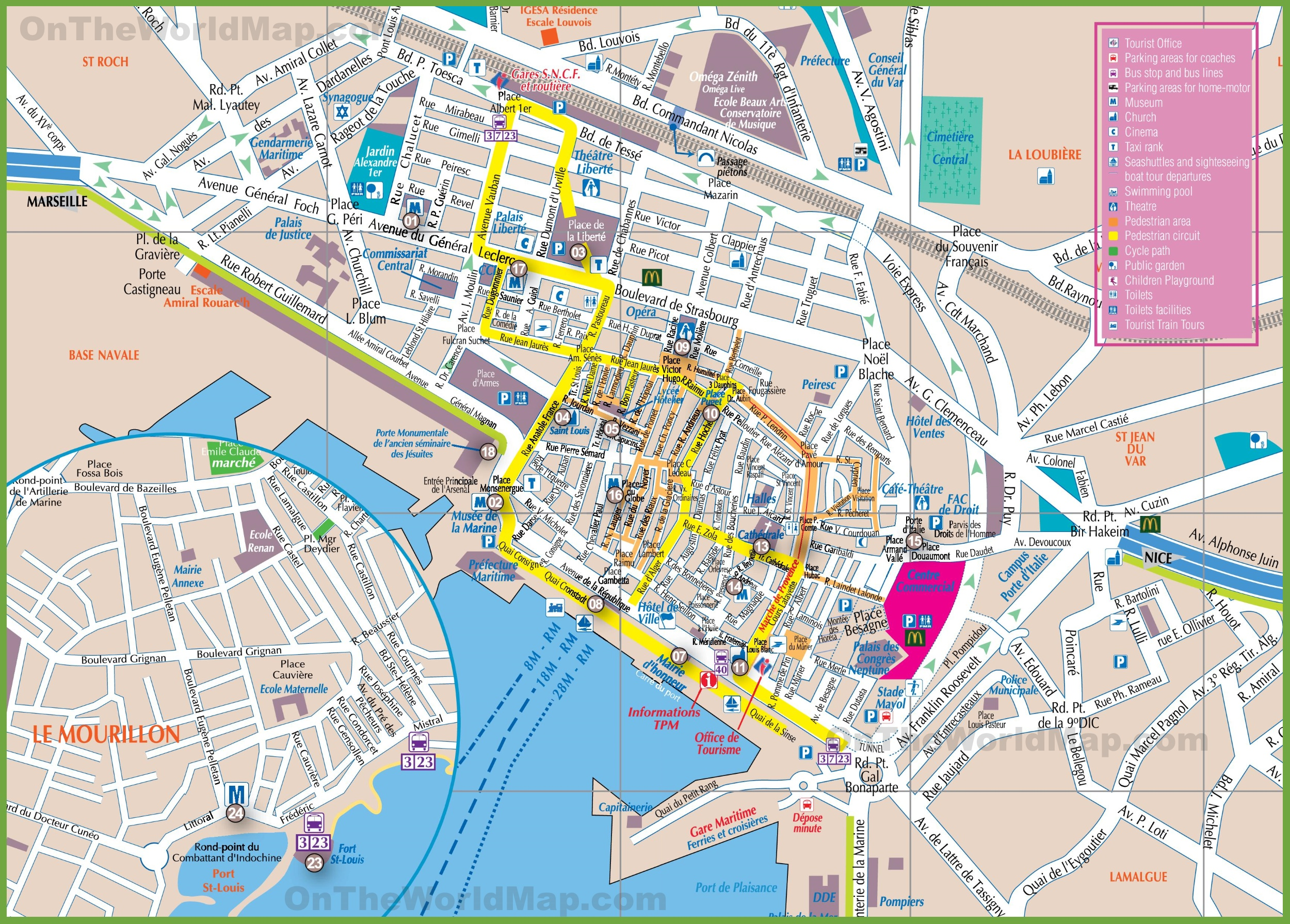 The Map Of France With The City.Toulon Tourist Map