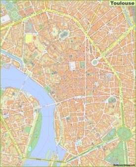 Detailed map of Toulouse City Center