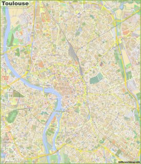 Large detailed map of Toulouse