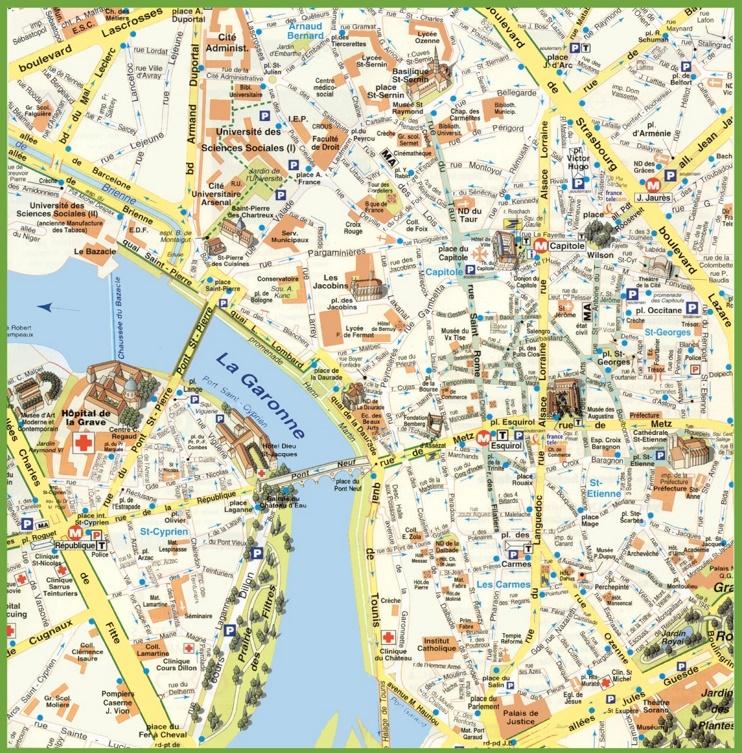 Toulouse city center map