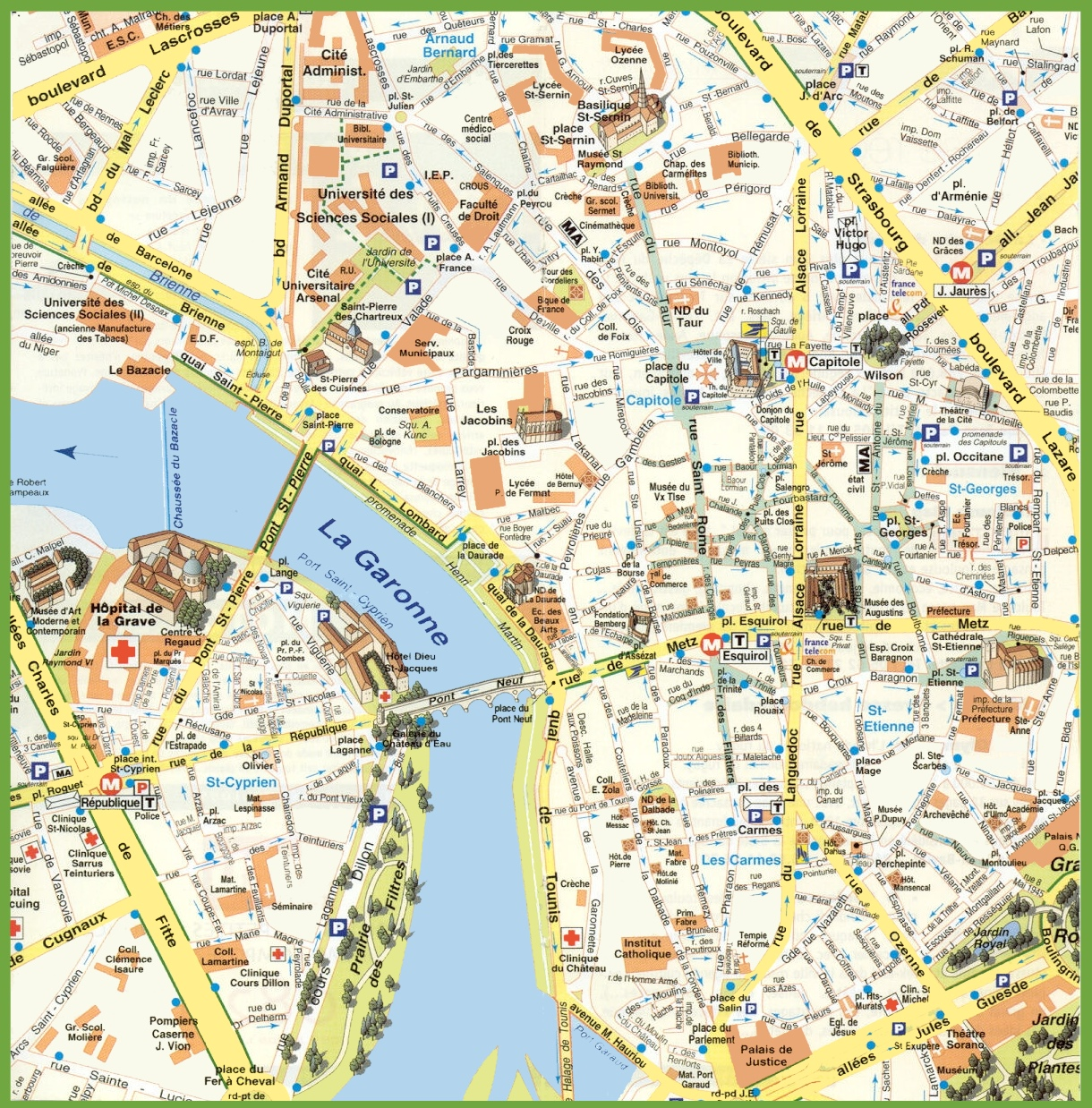 Toulouse city center map