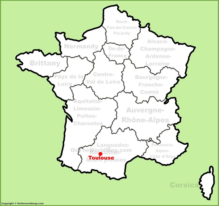 Toulouse location on the France map
