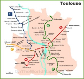 Toulouse metro and tram map